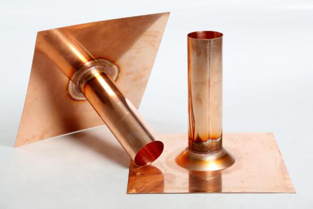 Dachwassereinlauf, gerades Tablet, Kupfer