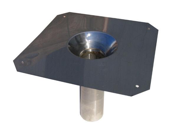 Dachwasserablauf, Chromstahl mit konischem Einlauf