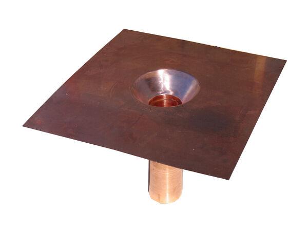 Dachwasserablauf, Kupfer mit konischem Einlauf